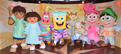 Eight Nickelodeon characters don their pajamas. (photo: NCL)