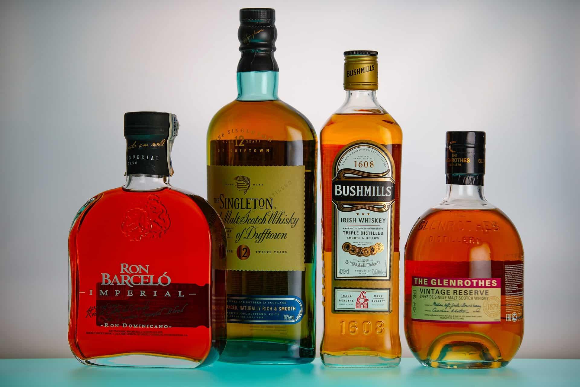 rum whiskey bottles pixabay