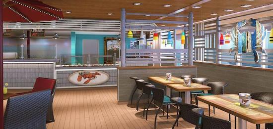 The Seafood Shack aboard Carnival Vista.