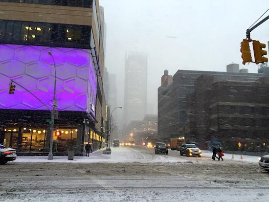 Sideways snow in Hell's Kitchen.
