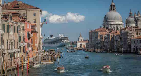 Viking Star sailing through Venice.