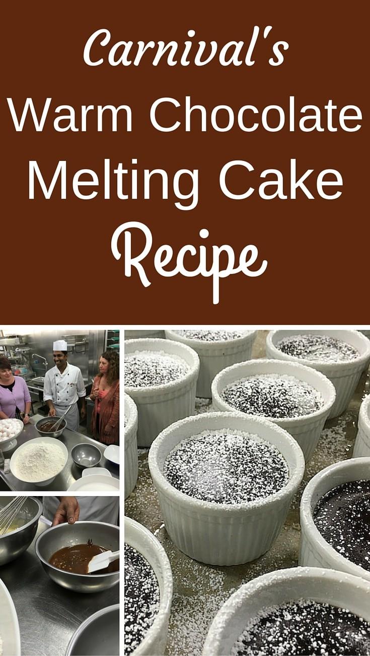 Carnival's Warm Chocolate Melting Cake Recipe - #carnival #cruiseline #recipe #chocolate #meltingcake #lavacake #dessert #sweets #treats #vacation #travel #cruising #cruise #thefunships