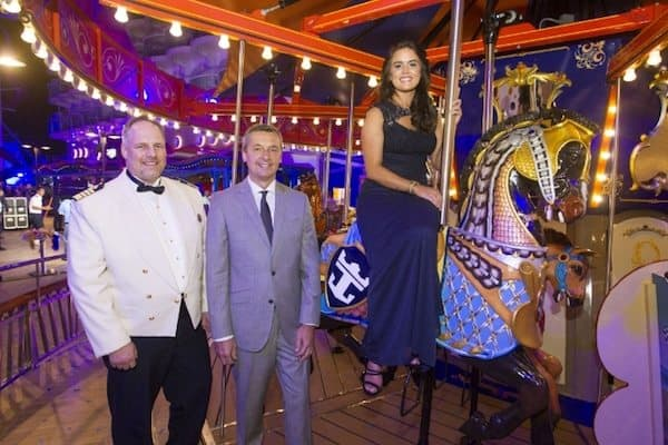 Captain Gus Andersson, Michael Bayley, President and CEO of Royal Caribbean, and Brittany Affolter