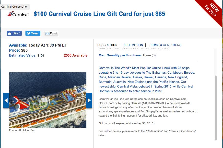 Carnival cruise gift card