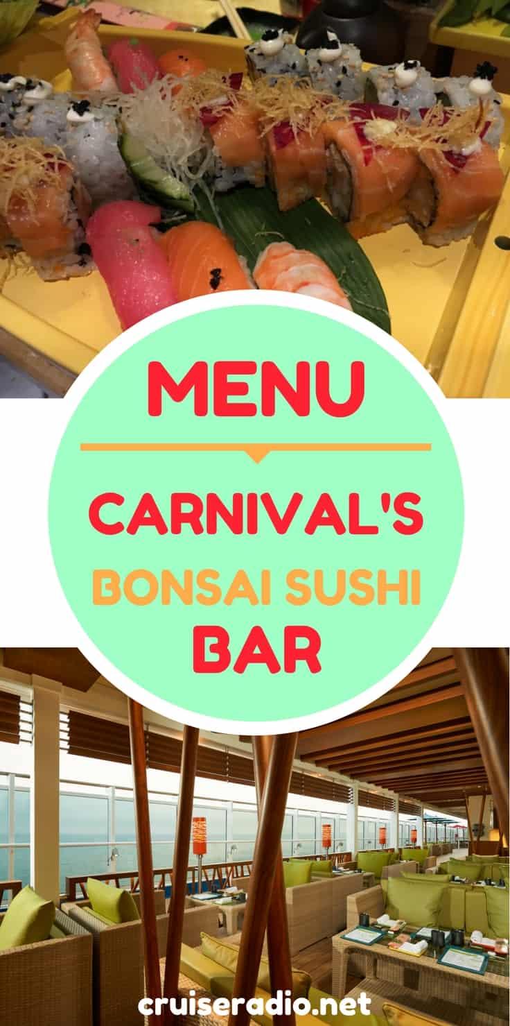 Menu Carnival Cruise Line S Bonsai Sushi Bar
