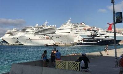 Cruise ships docked in Nassau, Bahamas.