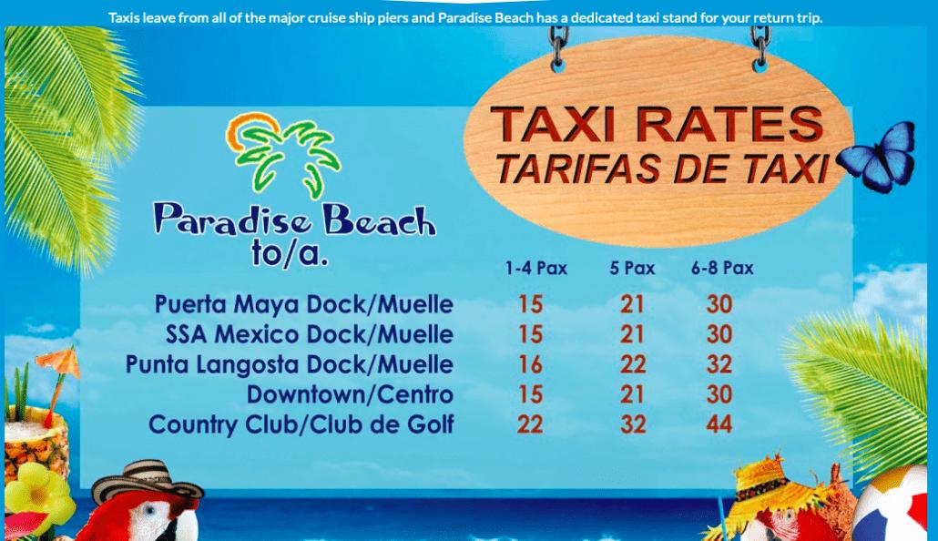 Taxi rates paradise beach