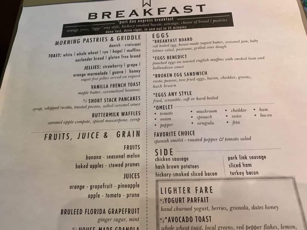 Carnival Sunrise menu