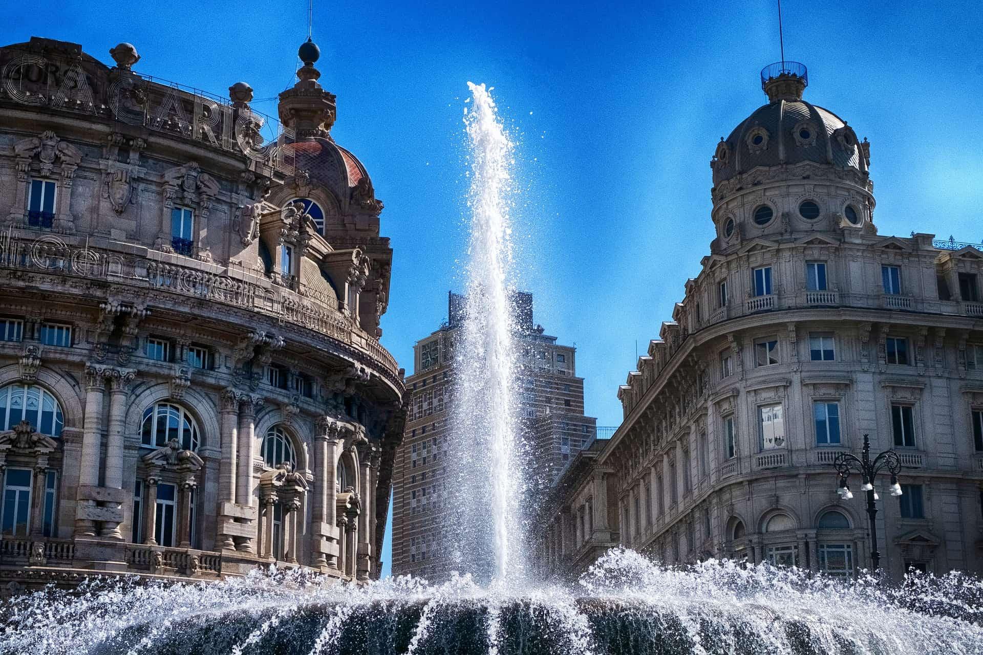 genoa italy fountain piazza de ferrari