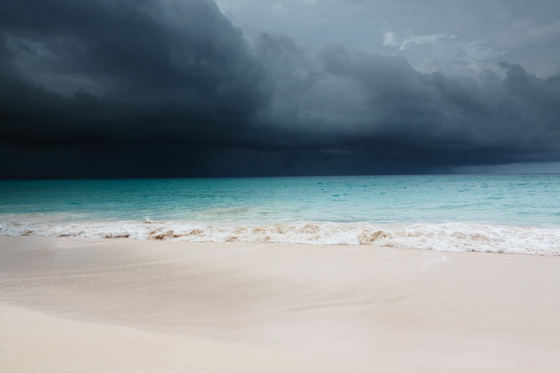 storm beach clouds ocean