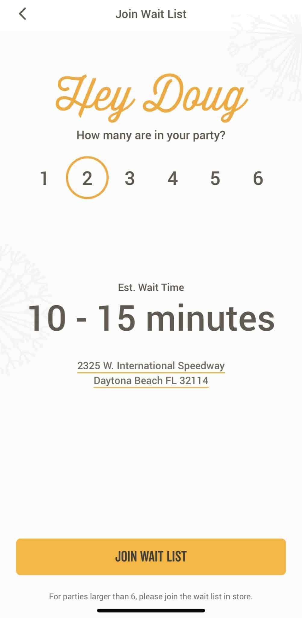 cracker barrel app wait list screenshot