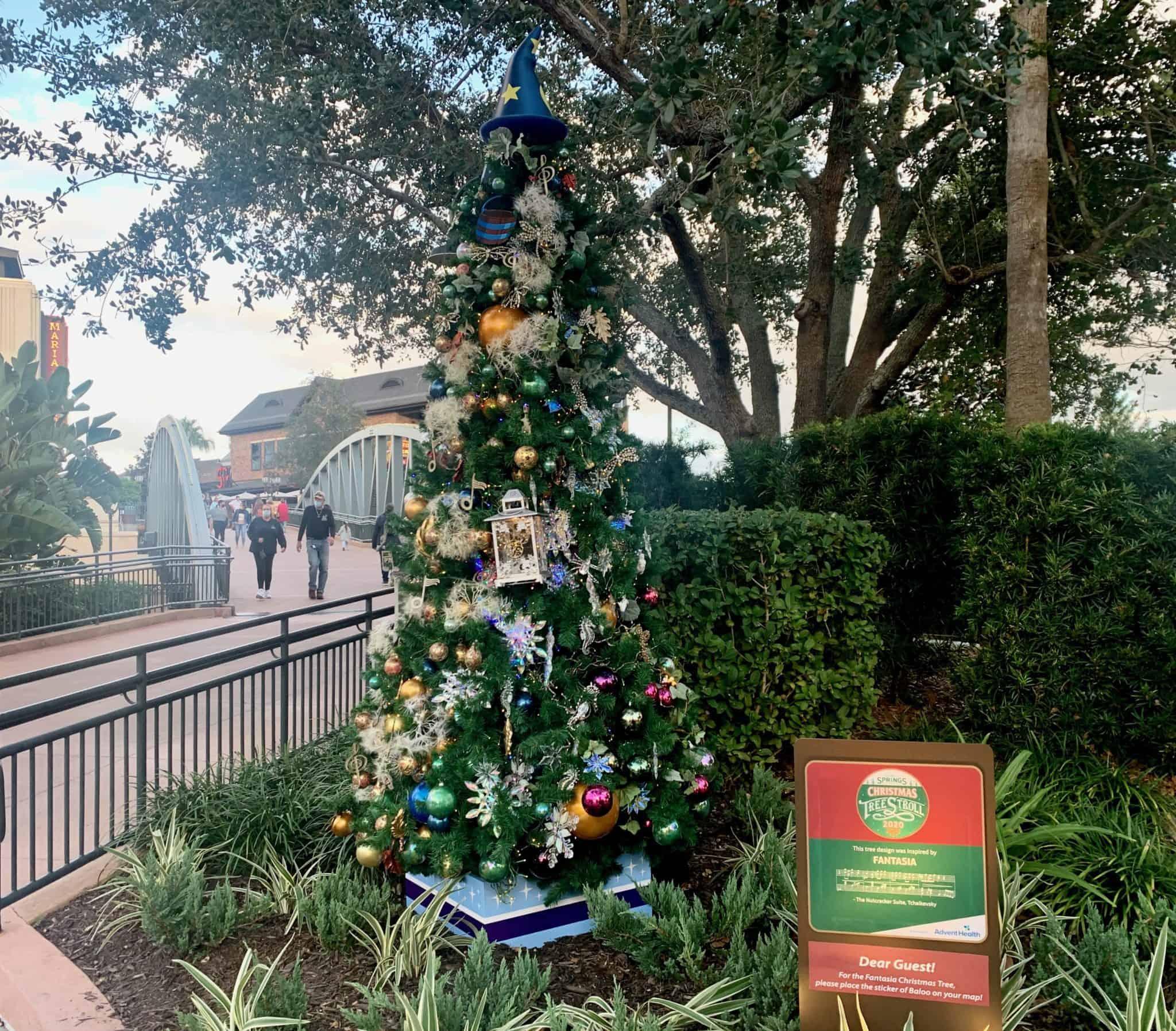 disney springs christmas tree stroll 2020 fantasia