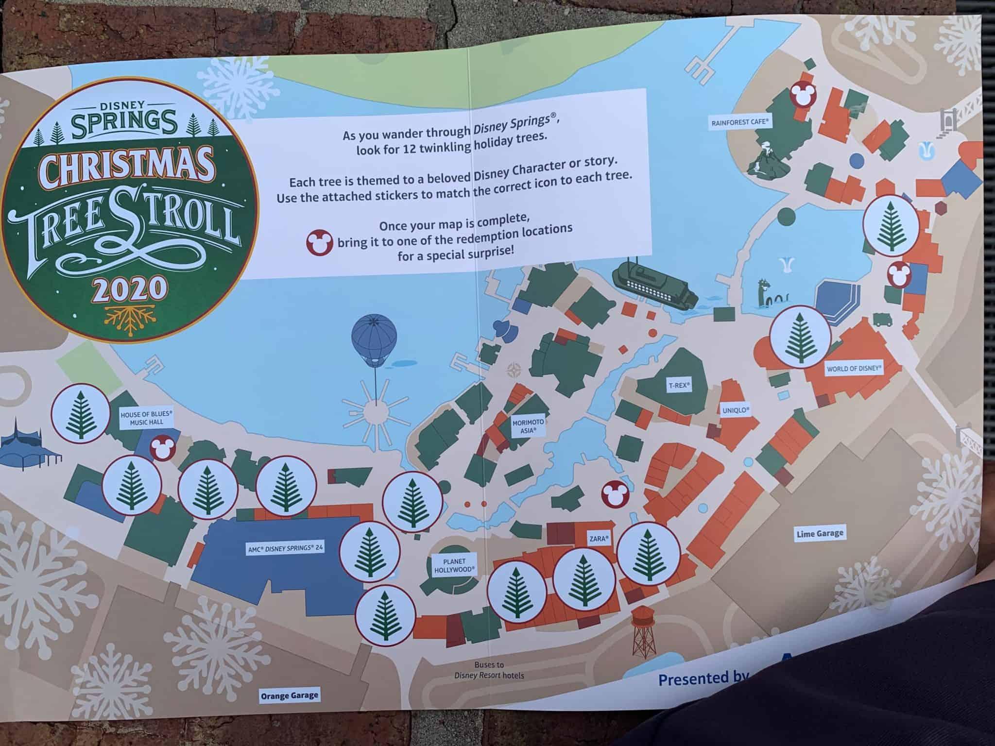 christmas tree stroll disney springs 2020 map