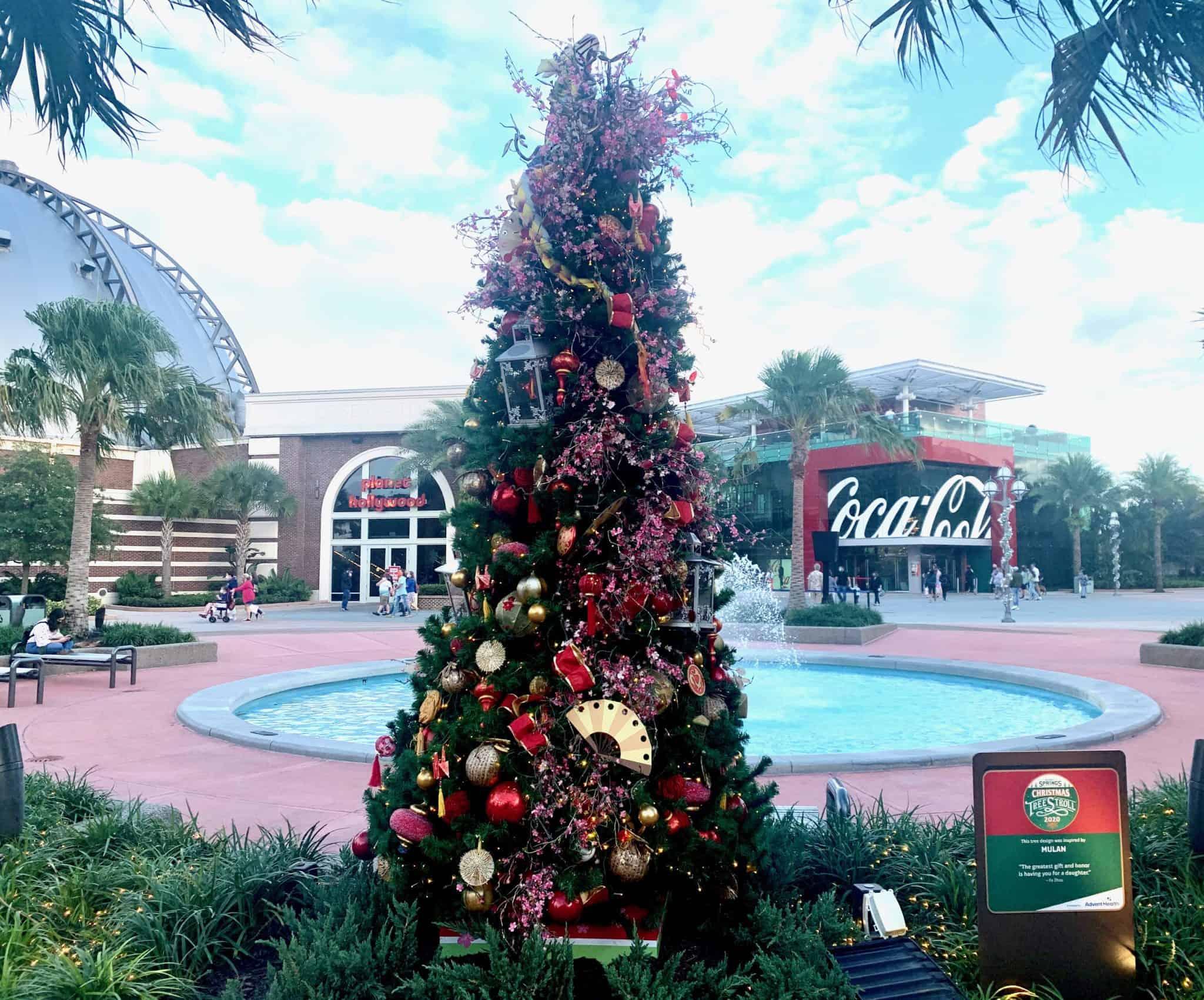 disney springs christmas tree stroll 2020 mulan
