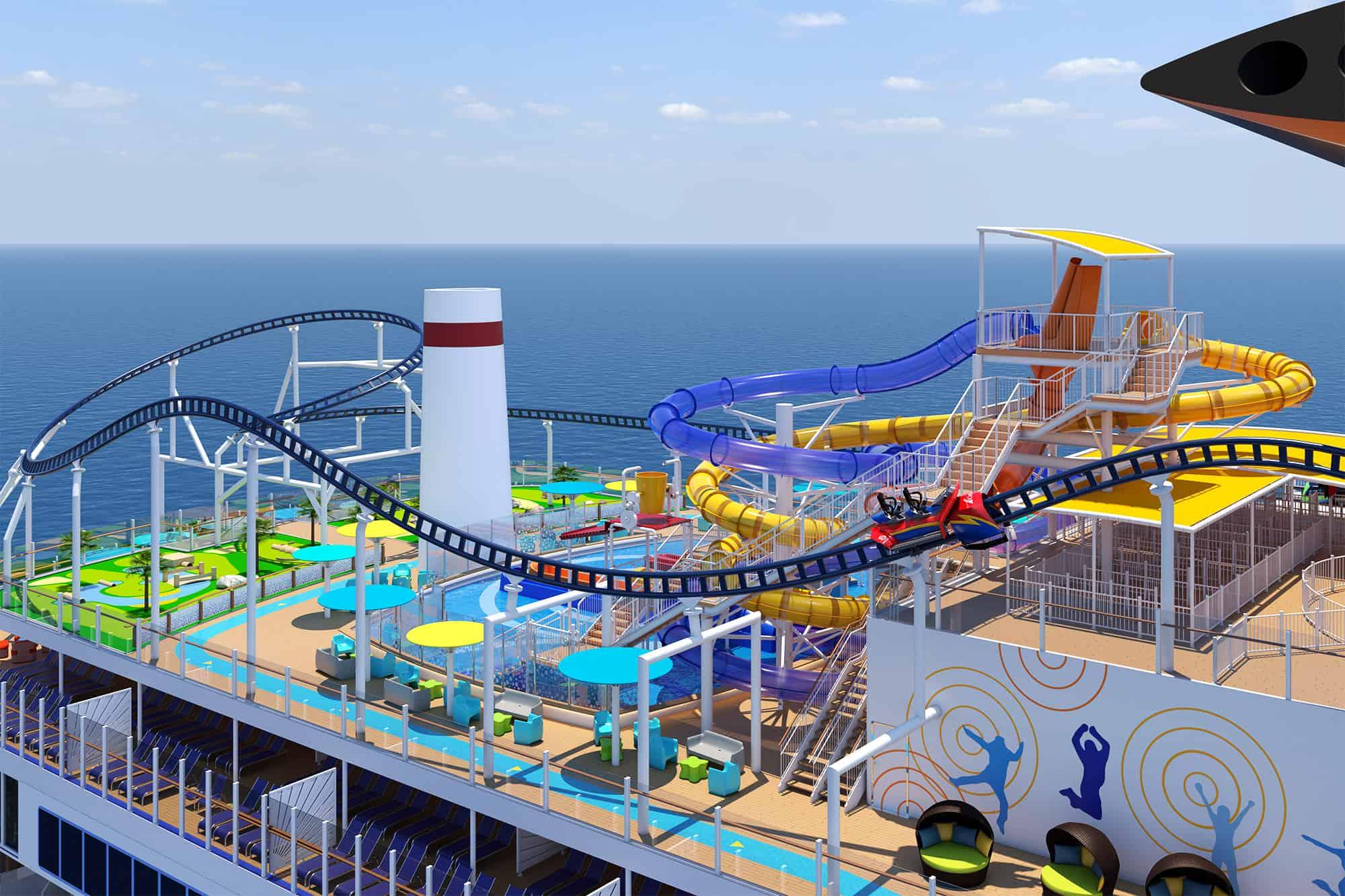 carnival cruise line mardi gras bolt roller coaster