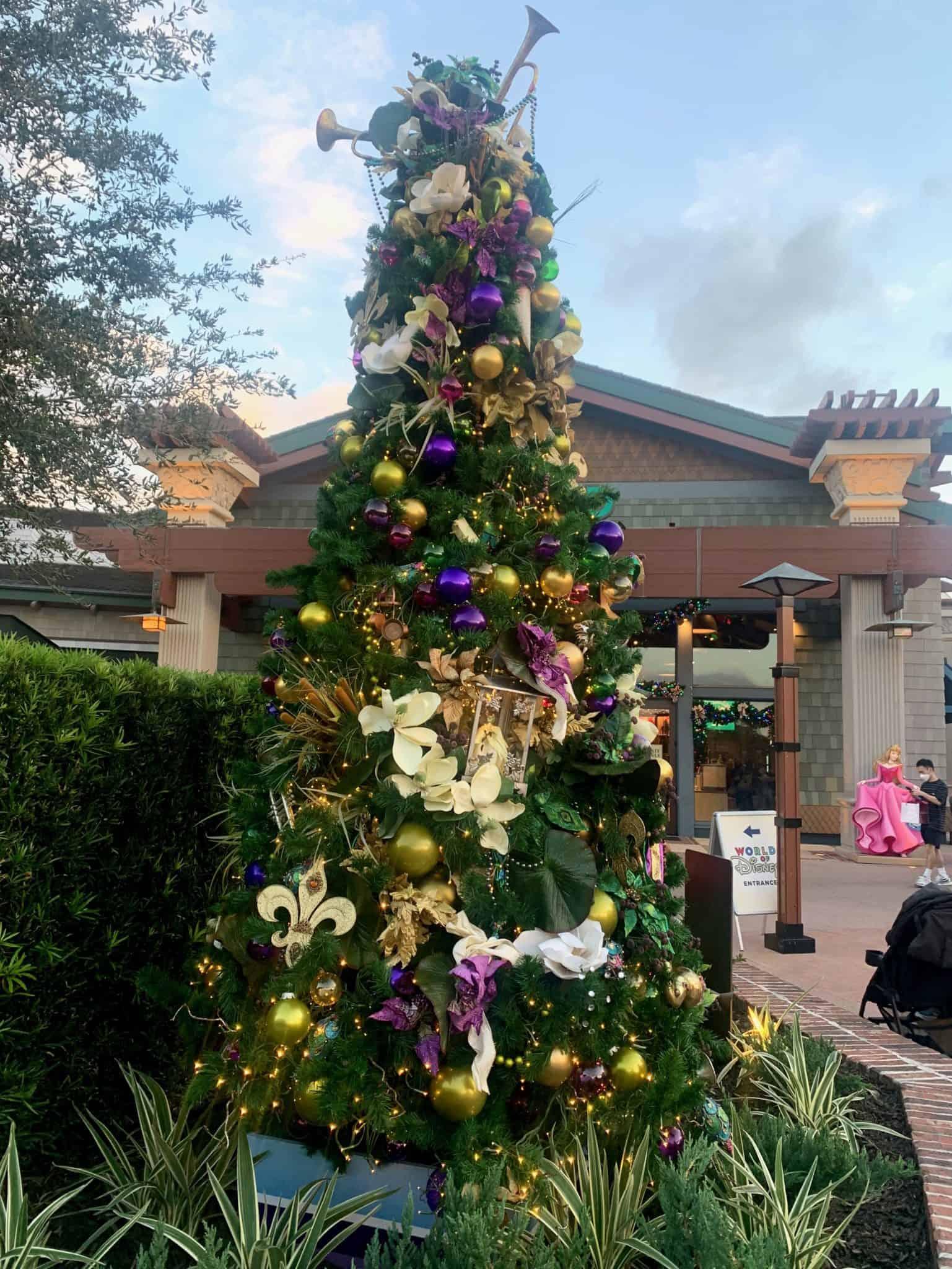 christmas tree stroll disney springs 2020 princess and the frog