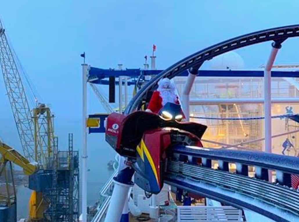 santa bolt roller coaster mardi gras carnival