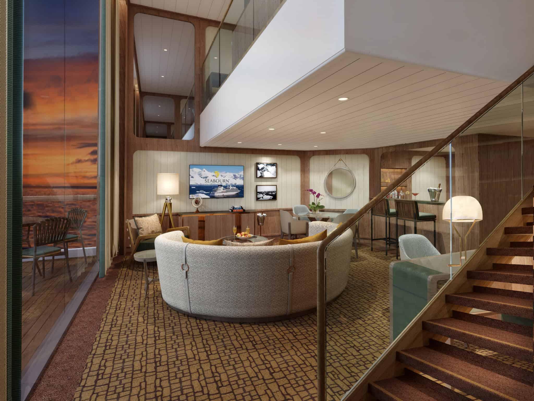 wintergarden suite living room seabourn rendering