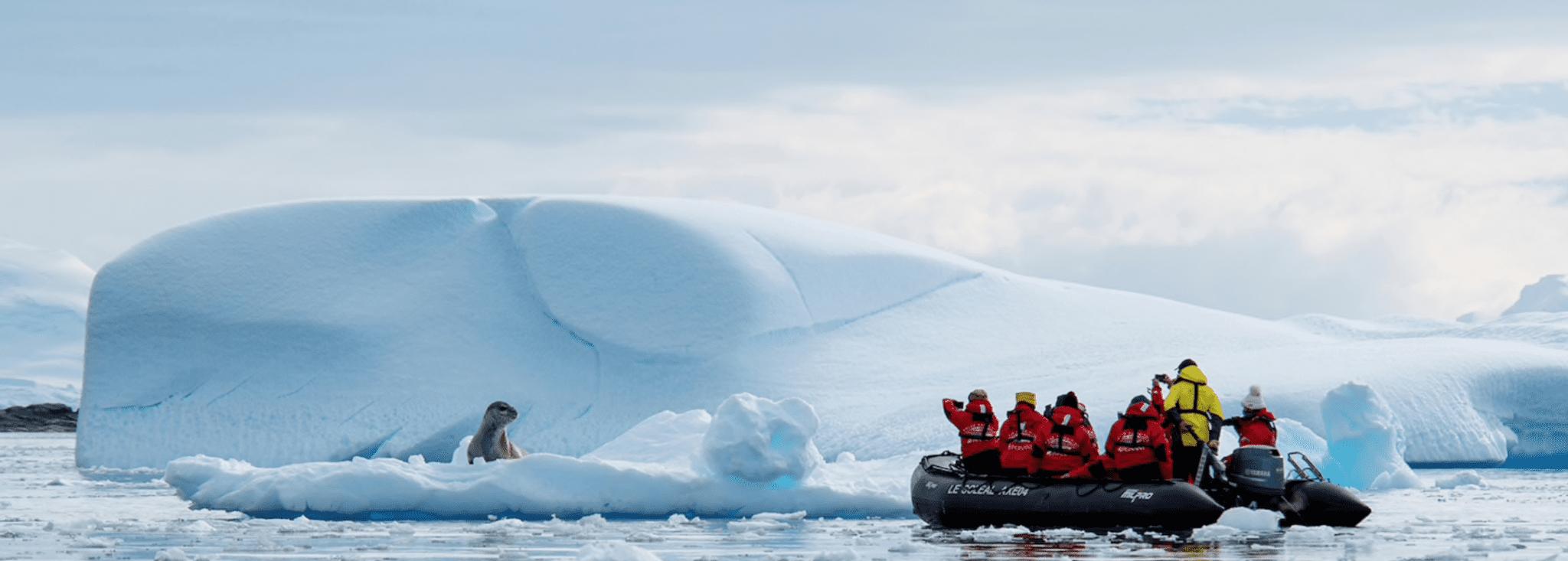 antarctica ponant zodiac boat iceberg