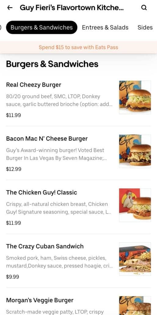guy fieri flavortown kitchen menu