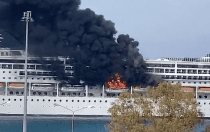 msc cruises lirica fire corfu greece