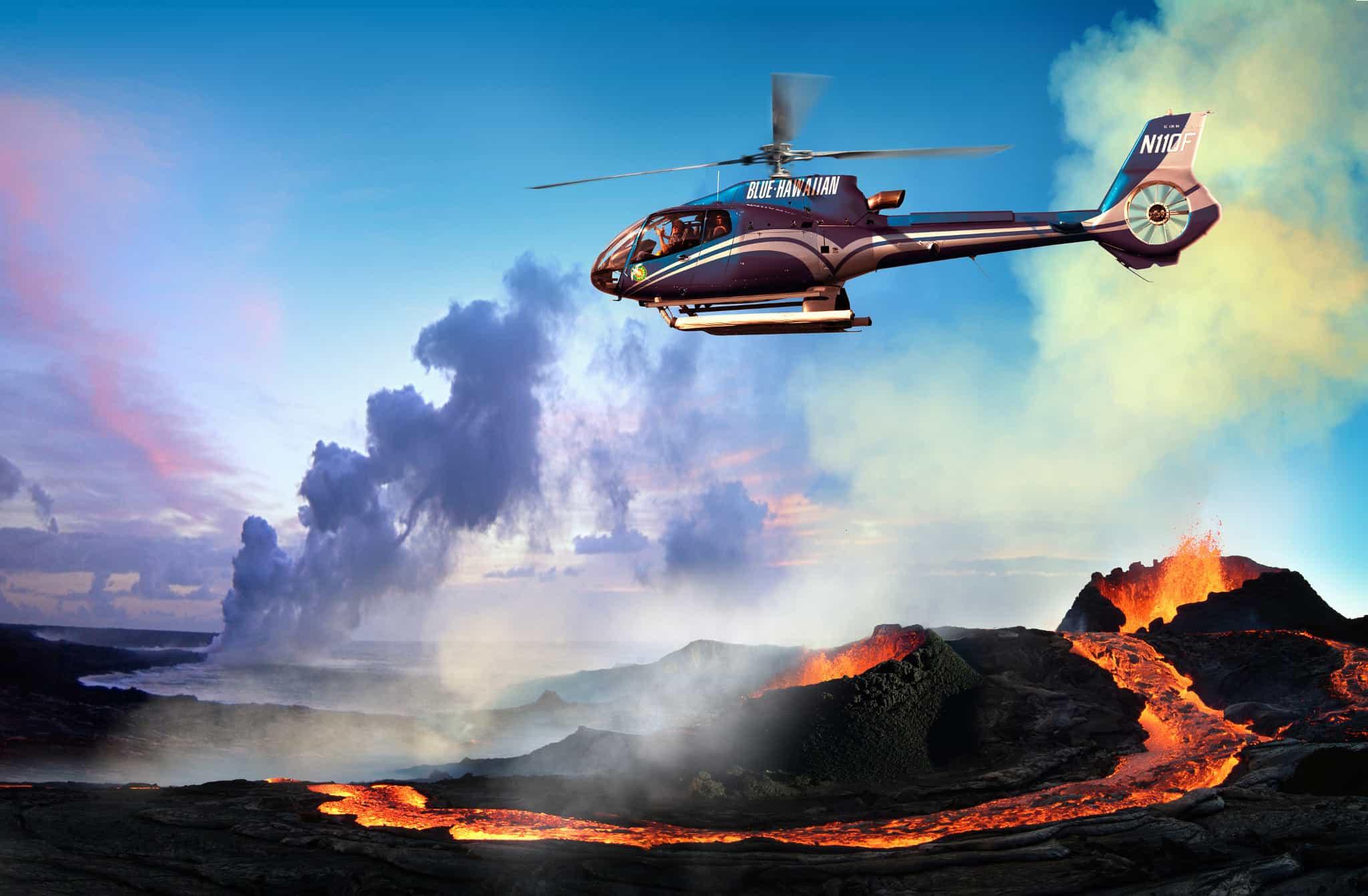 Helicóptero Hawaii Volcán Lava