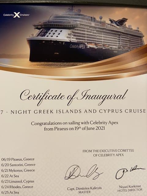 celebrity apex inaugural cruise certificate