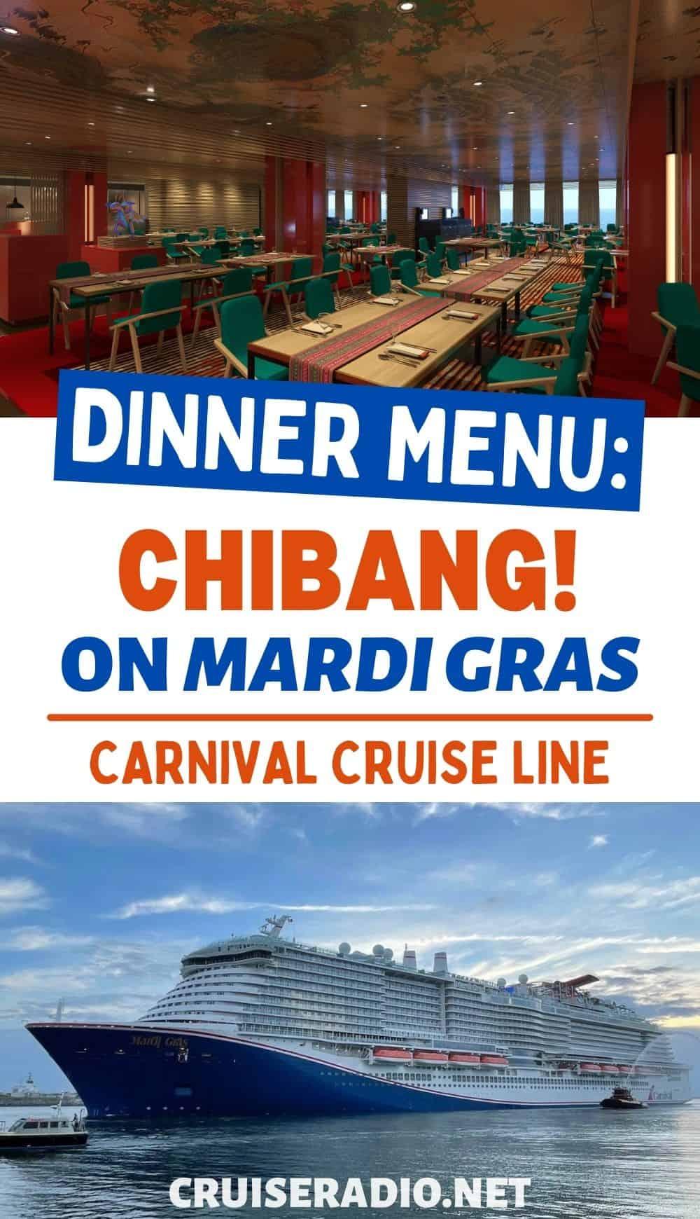 carnival cruise chibang dinner menu