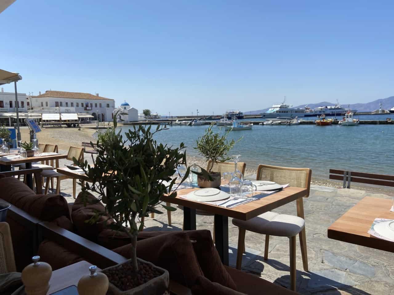 mykonos cafe seaside greece