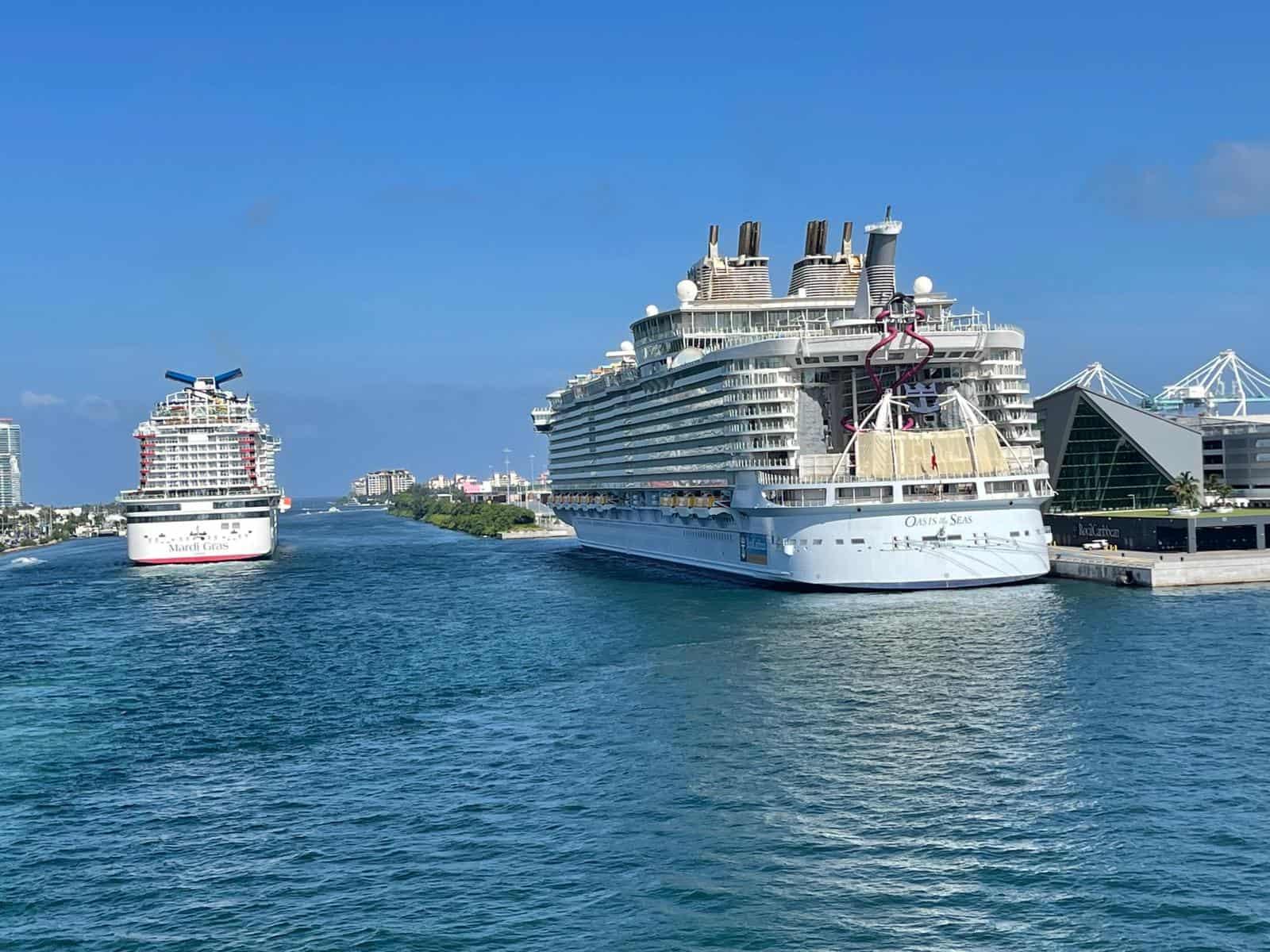 mardi gras and oasis of the seas PortMiami multiple ships