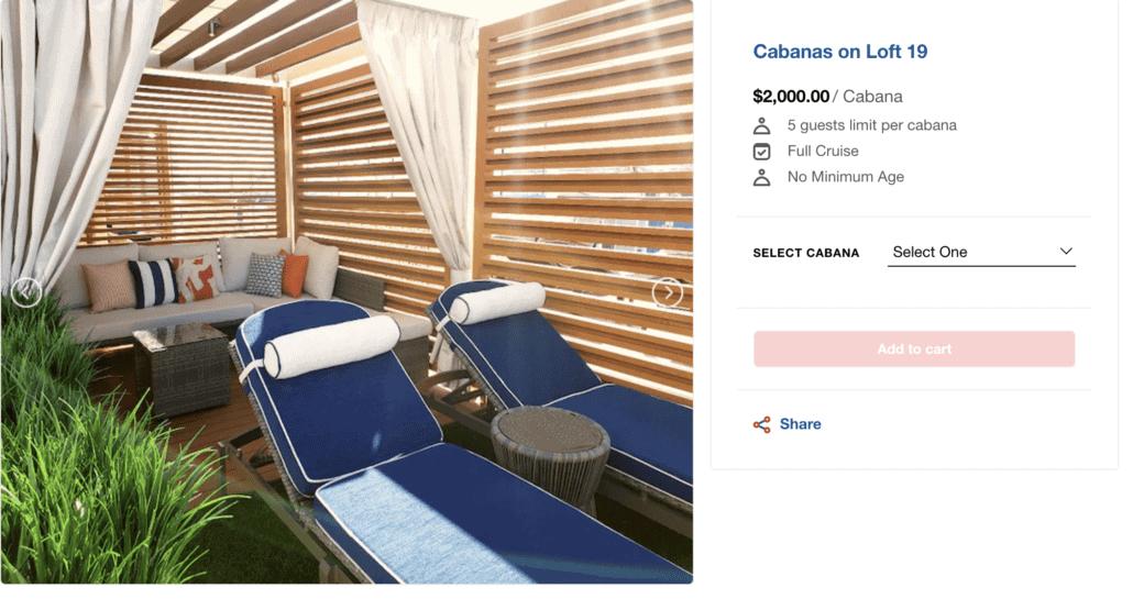 Loft 19 cabanas rental info
