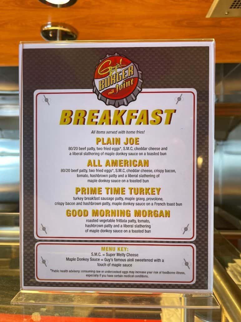 Mardi Gras maiden voyage guy's breakfast menu