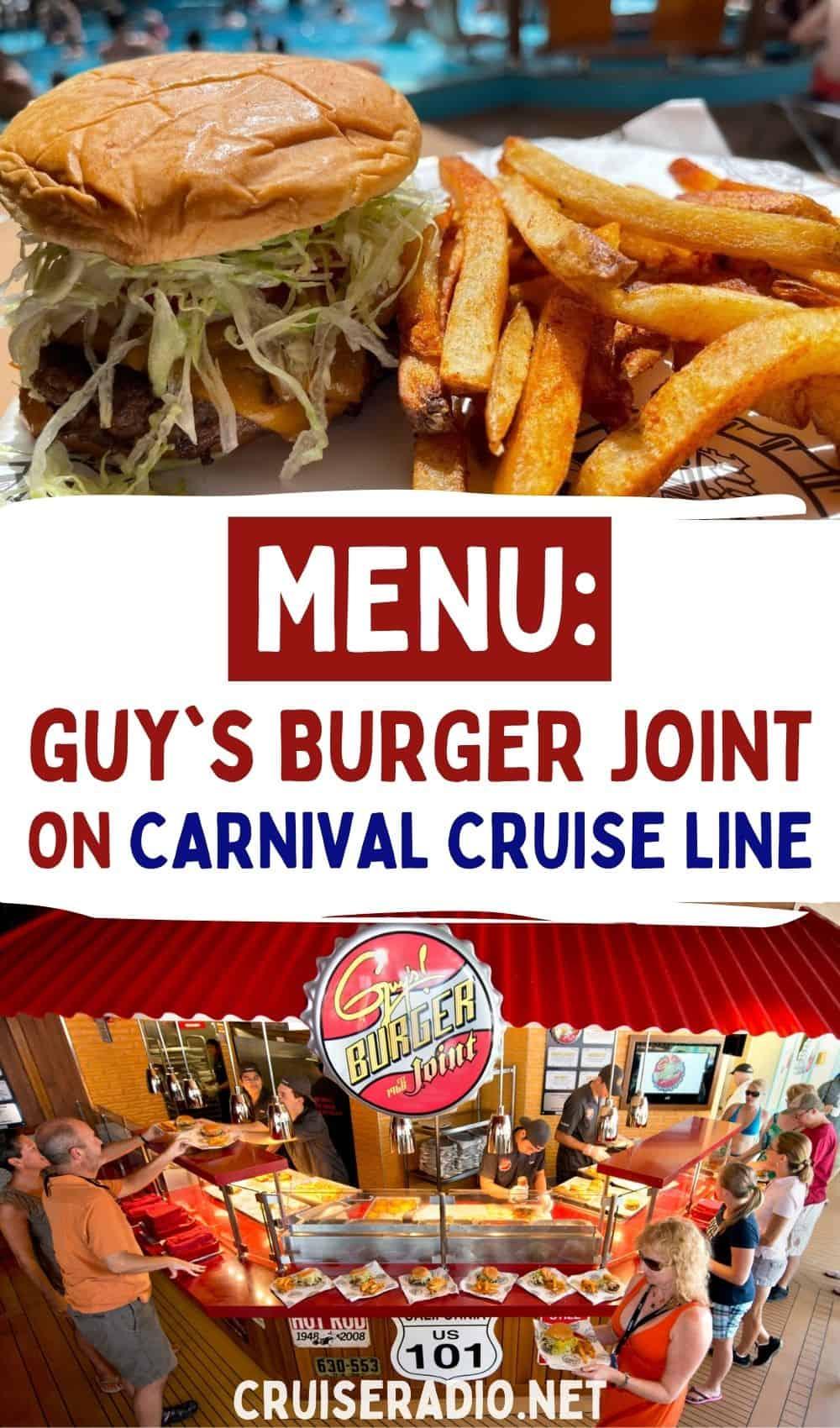 menu: guy's burger joint carnival cruise line