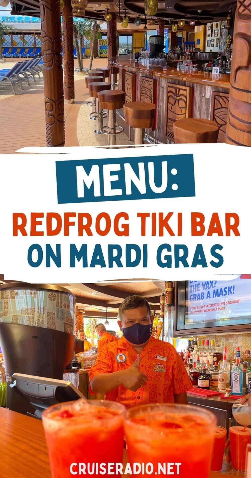 RedFrog tiki bar menu mardi gras