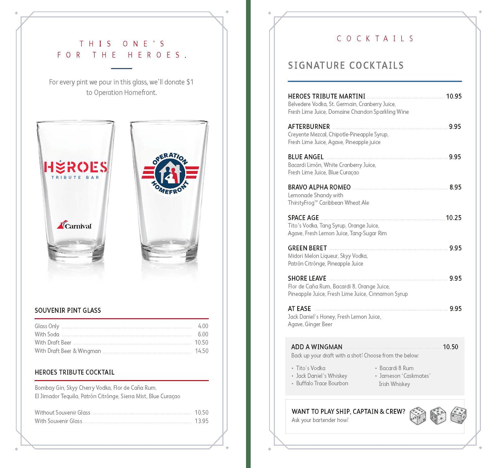heroes tribute bar menu