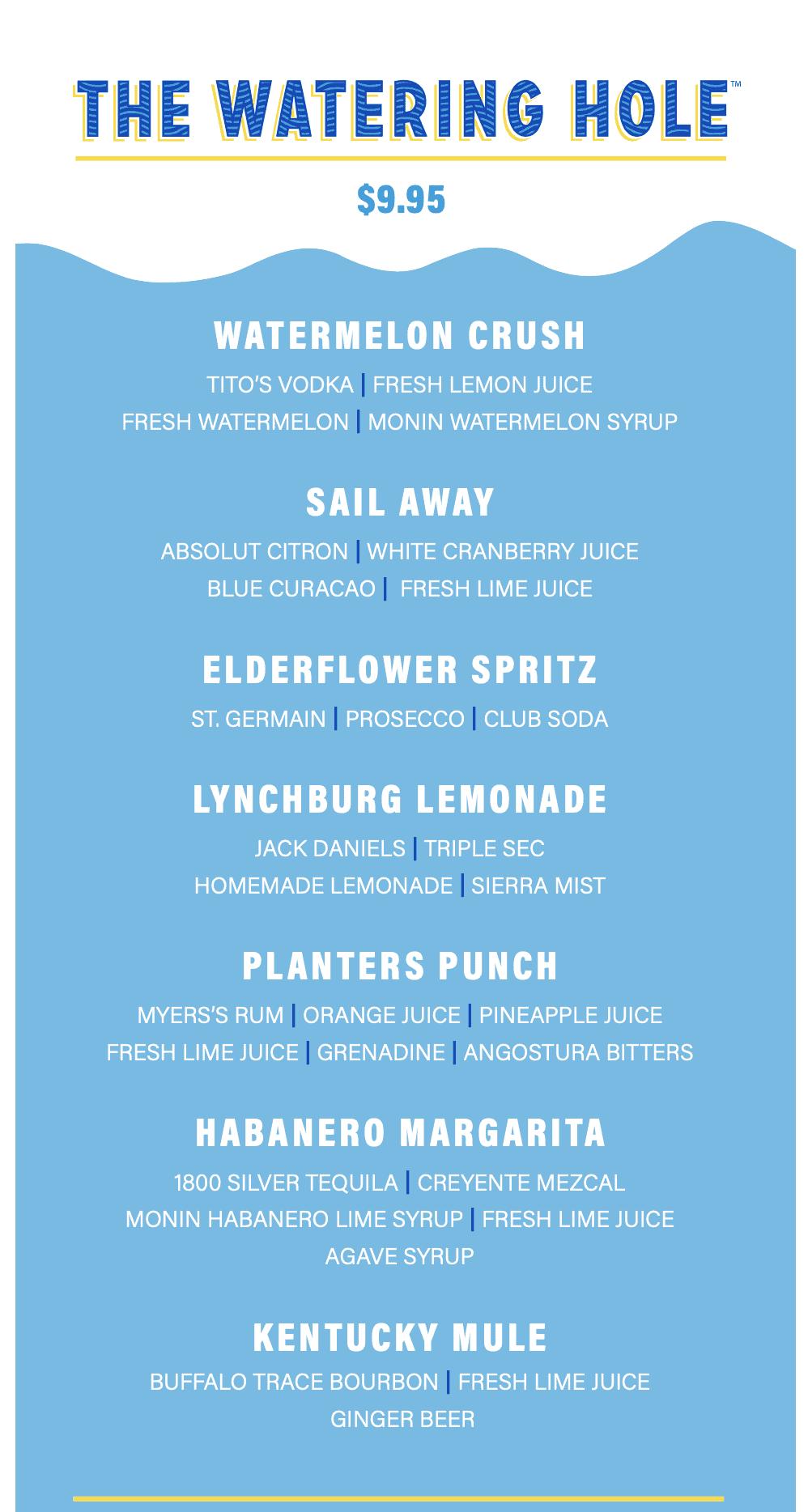 mardi gras watering hole menu