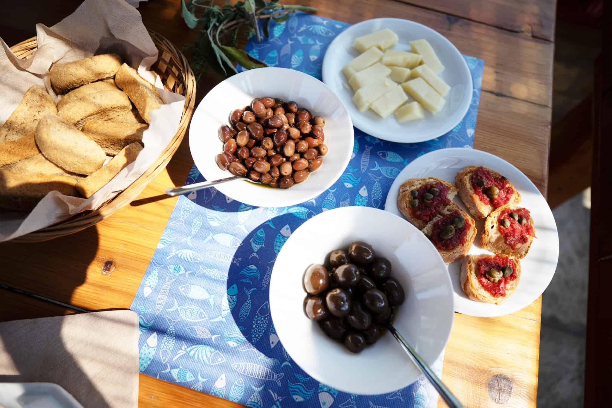 mezze small plates in paros, greece