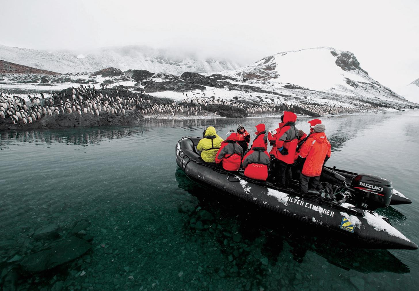 zodiac boat penguins antarctica